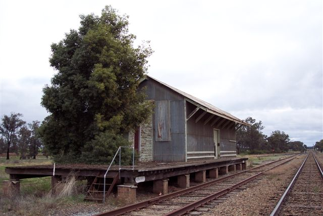 The view of the goods shed, looking west.