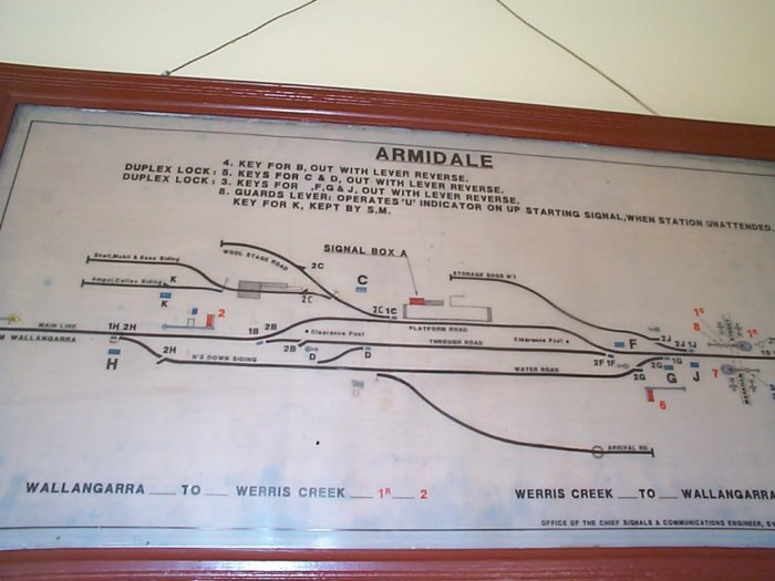 A closer view of the yard diagram at the station.