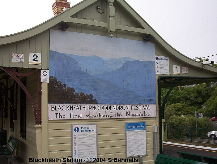 A photo of the original painting on the Sydney end of the station building at Blackheath. This was taken almost a year before Vern Treweeke repainted it.