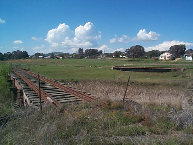The view from the entrance to Boorowa yard.  Beyond the turntable was an engine shed, and to the left of it was a coal stage.  The station and the rest of the the yard was located just out of picture in the left distance.