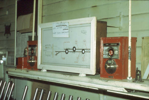 The block instruments at Bowning flank the track indictor board; the closest one is for Yass Jct.