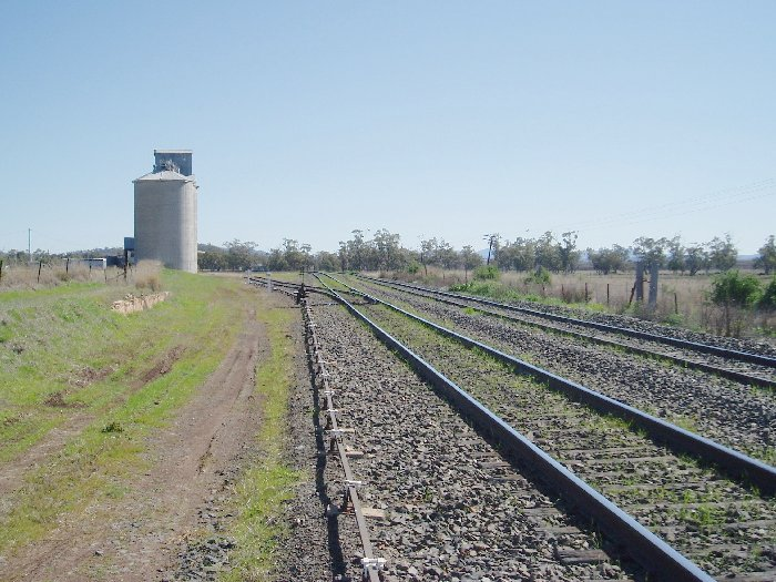 View of Breeza yard looking towards Gunnedah.  The Loop line is on the far left. The silo is disused, but the siding is used for track machine storage.