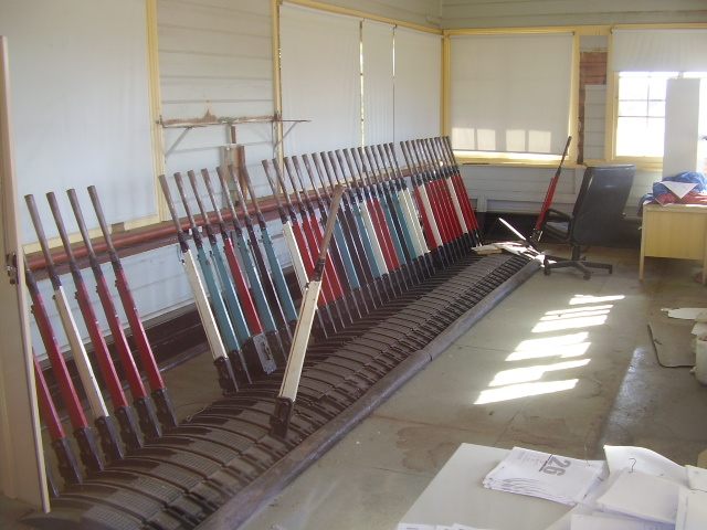The interior of the signal box at Cootamundra West.