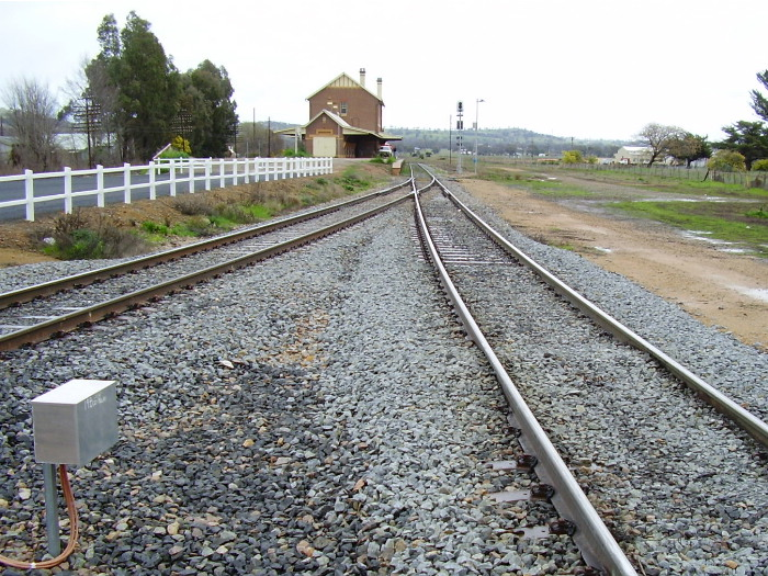 The view from the northern level crossing over the Olympic Highway, looking to the western junction of the triangle and showing its relationship to the Cootamundra West station.