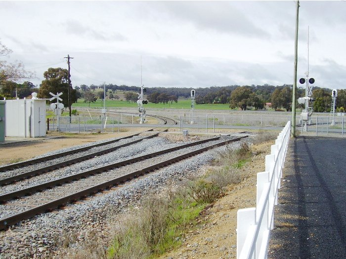 The view of the northern arm of the Cootamundra triangle taken from the carpark at the Cootamundra West station. The Main South crosses the picture in the middle distance.