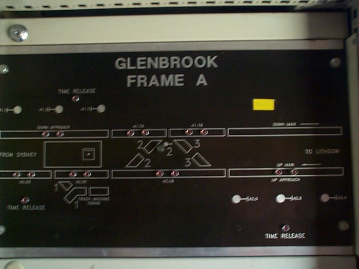 A close-up view of the track indicator panel at Glenbrook.
