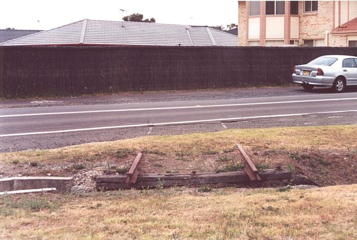A short piece of track embedded in Anzac Road denotes the location of the one time branch to the Ordnance and Depot sidings