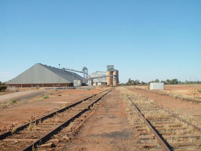 The view looking away from the end of the line across the yard remains to the grain silos.