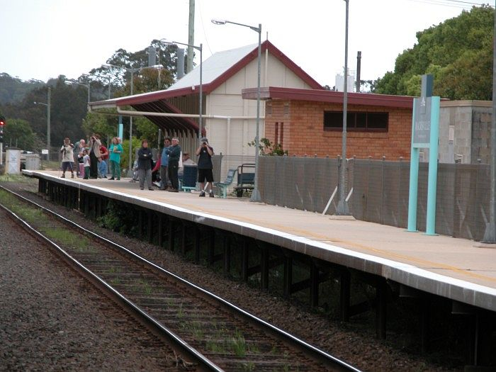 The platform at Macksville with passengers awaiting a Sydney bound XPT service.