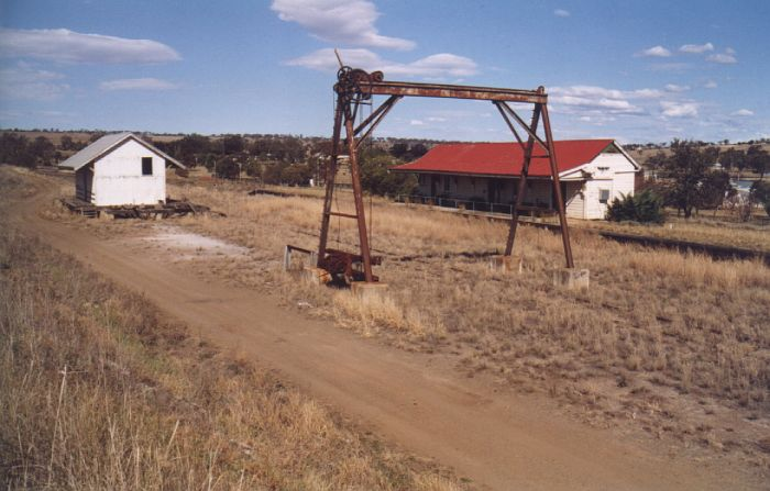 The view looking at the down-side terminus station at Merriwa.  The goods shed and gantry crane are still present nearby.