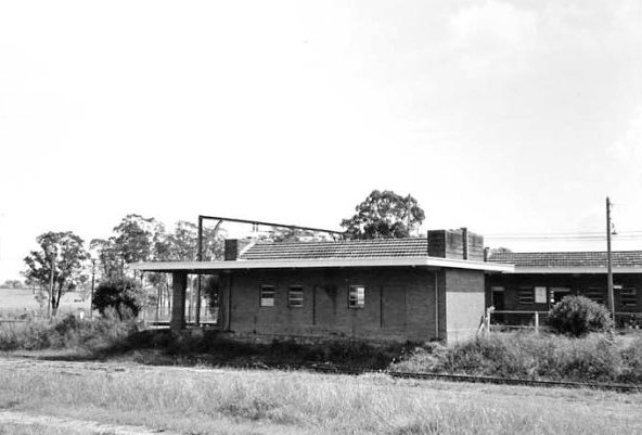 The road-side view of the former down platform building.