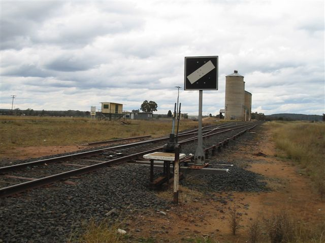 Only the grain silos and loop remain of the crossing station at Muronbong.