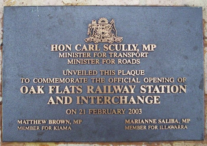 The plaque at the 'Oak Flats Railway Station and Interchange'.