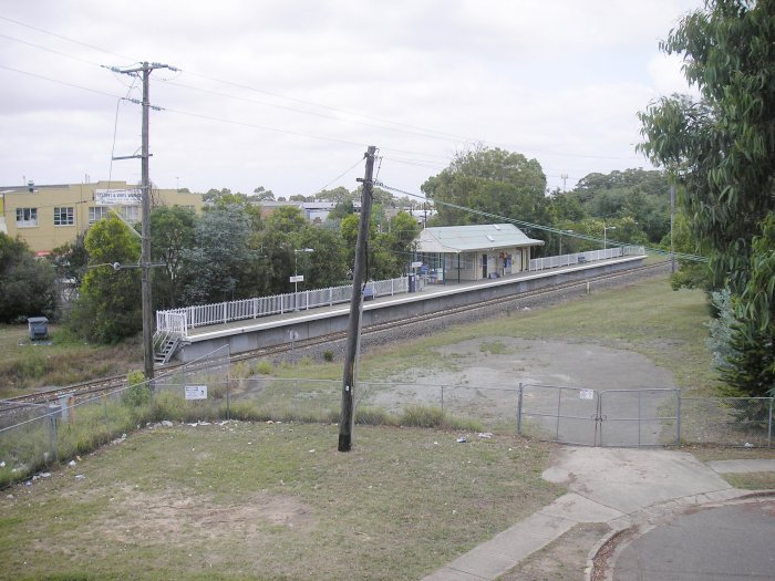 A view looking down at the modern station. The former station was located on the opposite side of the line.