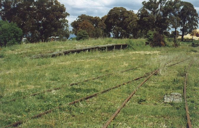 Ten years later, all traces of the platform and station are gone.  The goods platform and main line are still present.  The line in the foreground is the one-time engine siding.