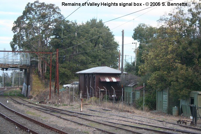 The one-time 3 storey signal box beside the Down refuge loop and sidings at Valley Heights.