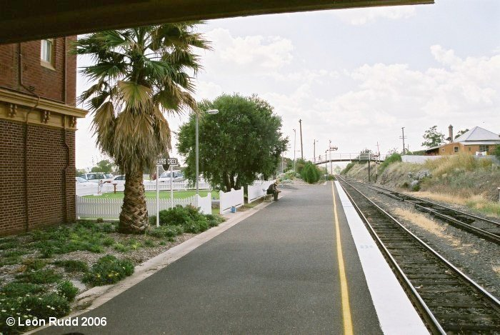 The view looking north towards Tamworth at the northern end of the platform, with the main north line and refuge siding on the right.