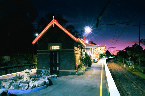 A great night-time shot of the platform at Woodford.